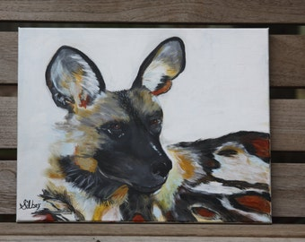 African Painted Dog, wildlife painting, small painting 11 x 14""