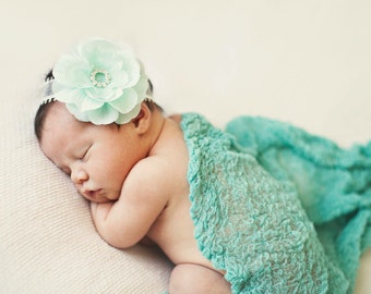 Newborn Mint Headband...Baby Bows...Photography Prop...Newborn...Baby Girl Headband...Mint...Newborn Headband...Baby