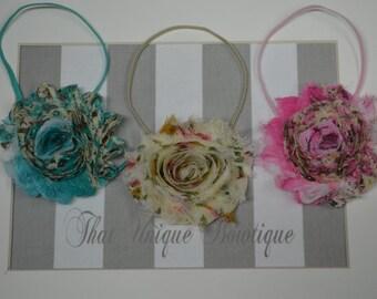 Set of Three...Baby Girl Headbands...Flower Headbands...Photography Props...Shabby Rosettes...Little Girl Headbands..Pink Teal and Beige