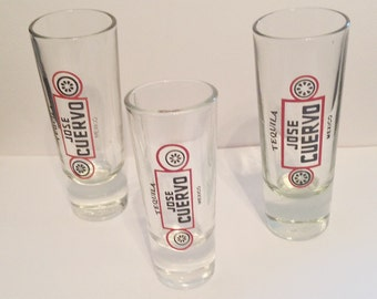 Three Vintage Collectible Jose Cuervo Shot Glasses