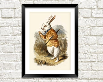 WHITE RABBIT PRINT: Alice in Wonderland Late Rabbit Illustration Wall Hanging (A4 / A3 Size)