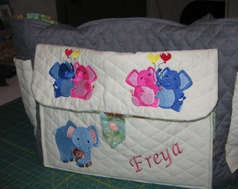 Personalized Diaper Bag Elephants Embroidered