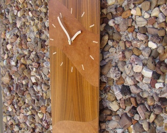 Contemporary Wall Clock of Rosewood and Madrone burl.  WC-5  Free Shipping.