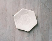 SALE-Textured white hexagon ring dish