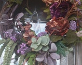 FALL WREATH - with purple and gold metalic flowers