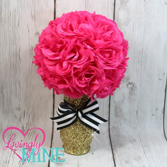 Centerpiece glitter gold glass vase hot pink faux silk rose