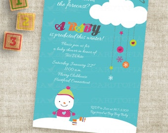 Snowman Baby Shower or Winter Birthday Party Invitation Printable Custom Digital Printable File Professional Printing Option