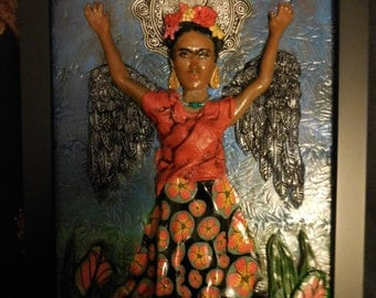 Winged Frida Kahlo Mixed Media Art Piece - OOAK