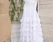 Reserved S Tiered Ruffled White Vintage Dress Cloud Cumulous Cupcake wedding