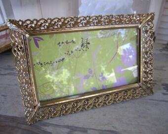 Long filigree rectangular frame  Gold tone vintage lacy metal picture frame