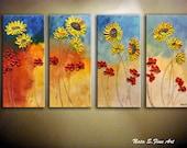 "SUNFLOWER,Poppy Original Painting.Modern Sunflower Painting.Contemporary Abstract Sunflowers Painting.Oversize Artwork 24"" x 48""- by Nata S."
