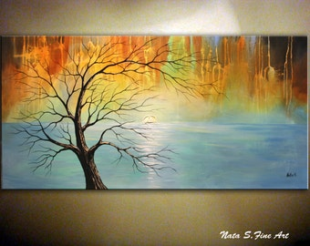 Old Tree Painting.Landscape Original Painting.Modern Abstract Tree Painting.Acrylic Painting.Home Office Decor.Large Artwork by Nata