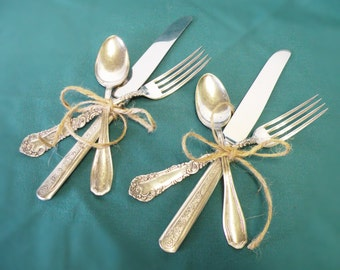 Rogers Silverplate Flatware, Set of 2 Place Settings - Mixed Lot, Knives, Forks, Spoons, Holiday Flatware, Weddings, Tea Parties