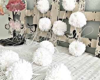 White Pom Pom Yarn Garland Birthday Pom Pom Garland  Baby Bridal Shower Garland Birthday Wedding White Pom Pom Decoration