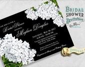 Black and White Floral Bridal Shower Invitation - Vintage White Hydrangea Flowers, Custom Printable Invites 5x7 Digital JPEG or PDF File