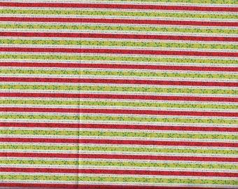 Red and Green Holiday/Christmas Striped Cotton Fat Quarter Fabric