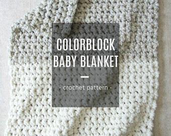 Colorblock Baby Blanket Crochet Pattern Downloadable PDF Picture Tutorial