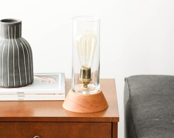 Signature Lantern Pedestal Lamp Small, Maple- Solid Maple, Table Lamp, Edison Bulb Lamp, Modern Lighting, Glass Shade