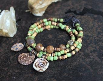 Spiral bracelet or necklace, triple wrap bracelet, celtic charm bracelet, rustic norse bracelet, versatile jewelry, green earthy bracelet