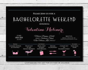 Bachelorette Weekend Invitation, Weekend Itinerary, Girls Weekend, Bachelorette Party Invitation