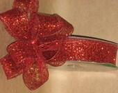 "New 1-1/2"" Red Mesh Wired Ribbon 5 yards, Red glitter Mesh Ribbon, Holiday Ribbon"