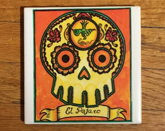 El Pajaro (The Bird) Ceramic Tile Coaster -  Loteria and Day of the Dead skull Dia de los Muertos calavera designs