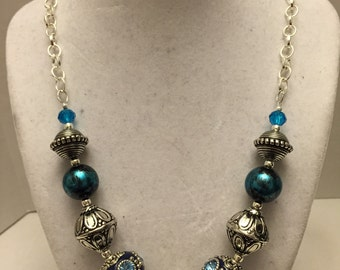 Shades of Blue chunky necklace