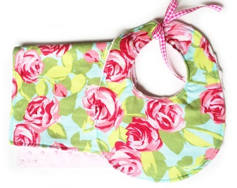 SALE Roses - Feeding Set Burp Cloth and Bib with pink minky baby girl floral cotton minky