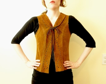 Vintage 1970's Punched Suede Leather Hippie Vest Western Cowboy Southwest  Mexico