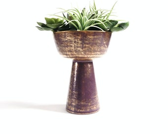 Mid Century Modern Artitectural Pottery Planter Vase - Eggplant Purple with Brushed Gold Accents