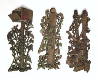 Vintage Retro Set of 3 Burwood Wall Hangings - 1960s - 1970s - Three Piece Set