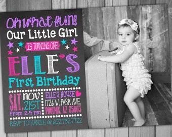 Birthday Invitation Girl First Girl 1st Chalkboard Birthday First Birthday 1st Birthday Digital Invitation Baby Girl Baby 1st Birthday Party