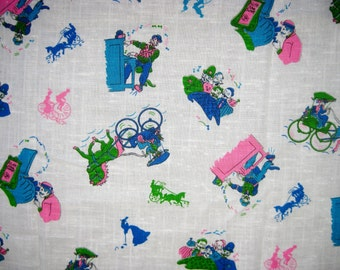 2.7 Yards Vintage 60s Old Timey Victorian Gay 90s Cotton Fabric Novelty Print Remnant