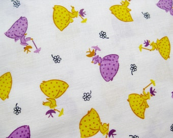 Vintage 50s 60s Victorian Ladies Novelty Print Yellow & Purple Cotton Fabric Remnant 4.5 Yards