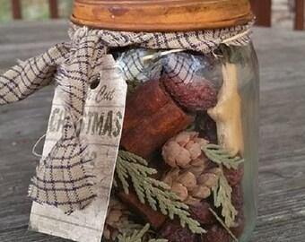 I pint  prim fixins in rustic mason jar
