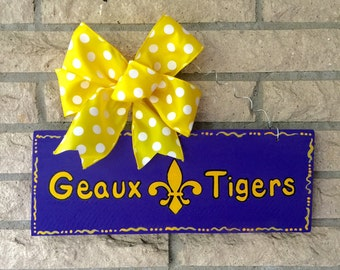 LSU, Geaux Tigers Handpainted Wood Sport Sign, Man Cave Sign