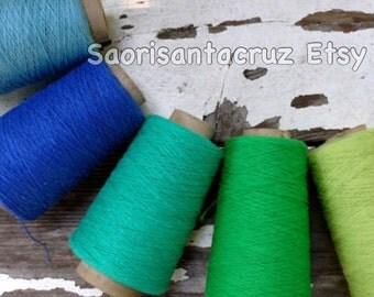 "Organic cotton weaving yarn 5 cone set "" The  Scandinavian Blue greens"" :saorisantacruz"