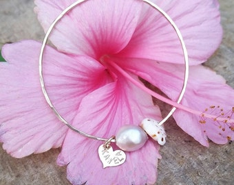 Baby Pearl, Shell, Charm Bangle - baby bangle, pearl bangle, shell bangle, shell jewelry, beach jewelry, hawaii, kauai