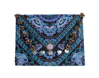 Boho Belled Clutch With Embroidered Fabric Handmade Thailand (BG306WB-44C6)