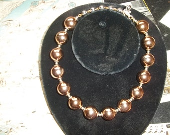 Vintage signed Mariam Haskell large bronze and silver beaded necklace