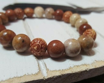 Moroccan Gold (21 Bead - 10MM Morocan Agate, Goldstone, Carved Wood)