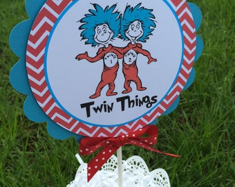 Thing 1 Thing 2 Baby Shower Cake Topper