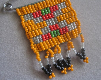 Beaded Brooch Safety Pin Vintage 70s Hand Crafted Huichol People Mexico Tribal Art to Wear One of a Kind OOAK Tiny Glass Beads Orange Red