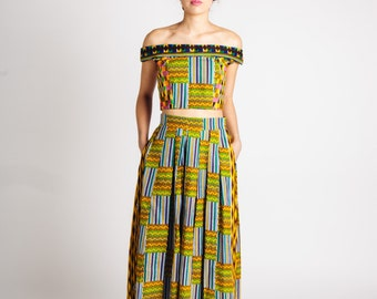 African Print Maxi Skirt Green Mustard Teal