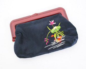 Vintage 50s Black Silk Asian Purse