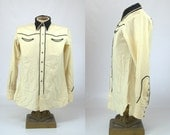 1940s Western Ivory Wool with Abalone Snaps Country Western Shirt