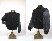 50s Lettermans Jacket Leather & Wool General Sports Equipment Bomber Style Lettermans Jacket