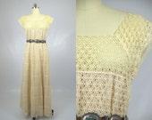 60s Crochet Bohemian Tachi Castillo for Gwen Sexton Ivory Crochet Full Length Bohemian Maxi Dress