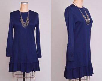 60s Navy Sailor Dress Mod Long Sleeve Dolly Dress
