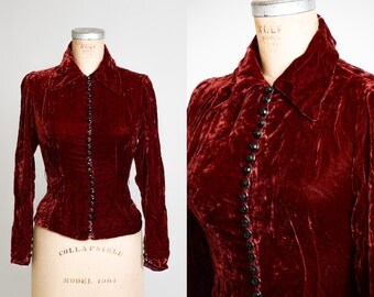 1930s Crimson Velvet with Glass Buttons Fitted Dress Blouse